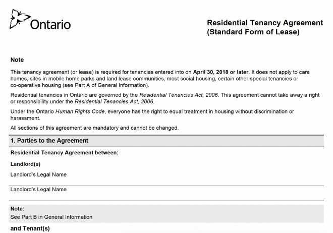 Province Of Ontario Introduces Standard Form Of Lease Distinctive